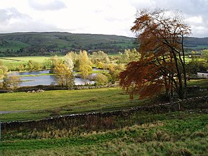 English: Kilnsey Trout Farm An example of dive...