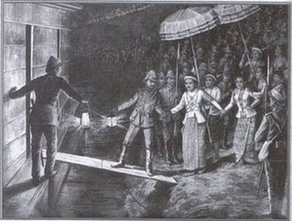 British rule in Burma - In this rendering, British officers take King Thibaw onto a steamship en route to exile in India. He will never see Burma again.