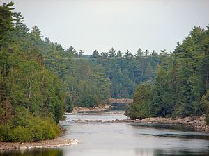Kipawa River - Kipawa River during low water level, as seen from the Laniel Dam