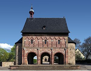 Carolingian Renaissance - Lorsch Abbey gatehouse, c. 800, an example of the Carolingian architectural style - a first, albeit isolated classical movement in architecture