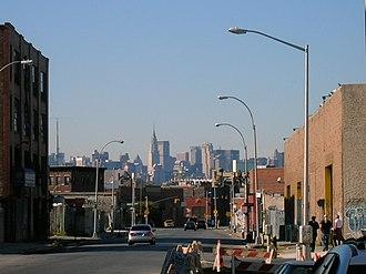 East Williamsburg, Brooklyn - Knickerbocker Avenue looking north at Thames Street