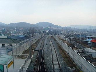 Soyosan station - Image: Korail Gyeongwon Line Soyosan Station Platform 2