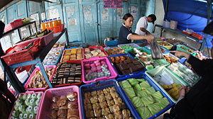 Kue - Traditional market in Yogyakarta selling various kinds of jajan pasar kue.