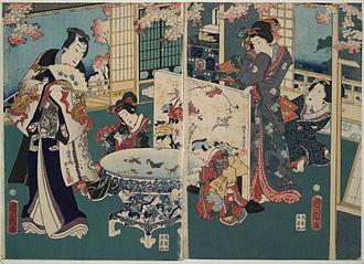 Toyohara Kunichika - Toyohara Kunichika: Spring outing in a villa (c. 1862). Illustrates the artist's use of vanishing point perspective.