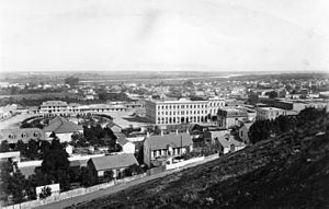 Pico House - The Pico House dominates the Plaza in old downtown Los Angeles, 1876 (photo taken from old Fort Moore)