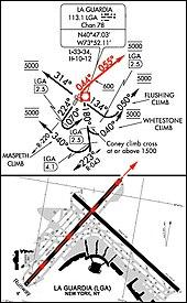 Image d'une carte utilisée dans l'aéronautique et séparée en deux parties. La partie supérieure montre les trajectoires de départ pour les différentes pistes de l'aéroport et la partie inférieure est une carte agrandie de l'aéroport, détaillant les pistes et les voies de circulation. Sur les deux parties de l'image, des flèches rouges indiquent la trajectoire de départ pour la piste 4.