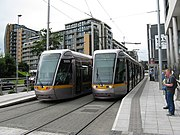 LUAS trams at Tallacht terminus. - geograph.org.uk - 1387090