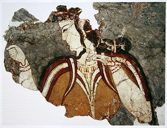 Mycenaean Greece - Fresco depicting a female figure in the acropolis of Mycenae, 13th century BC
