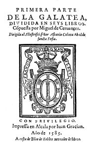Cervantes' La Galatea (1585), original title page