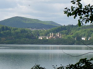 Laacher See - Lake in summer; Maria Laach Abbey visible in the background