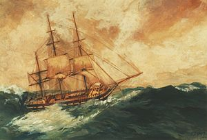 John Dibbs - The Lady Blackwood scudding through the Bay of Biscay. Painting by George Gregory, 1892.