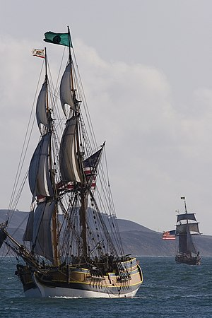 Brig Lady Washington (left) and Hawaiian Chief...
