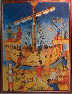 A medieval painting of a caravel being provisioned in the port of Lagos