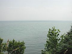 Lake Erie - Looking southward from a high rural bluff near Leamington, Ontario