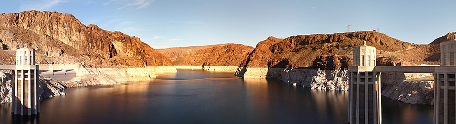 Lake Mead as seen from the Hoover Dam with the white band clearly showing the high water level on December 22, 2012. Lake Mead Panorama 2.jpg