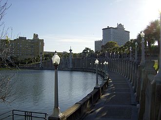 Lakeland, Florida - Lake Mirror Park in downtown Lakeland is lined by City Hall and Lakeland Terrace Hotel.
