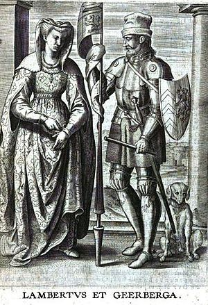 Lambert I, Count of Louvain - 17th century representation of Lambert I and Gerberga