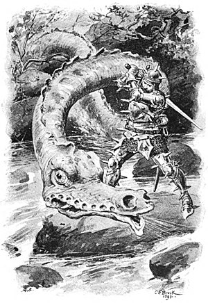 Lambton Worm - Illustration of John Lambton battling the Worm