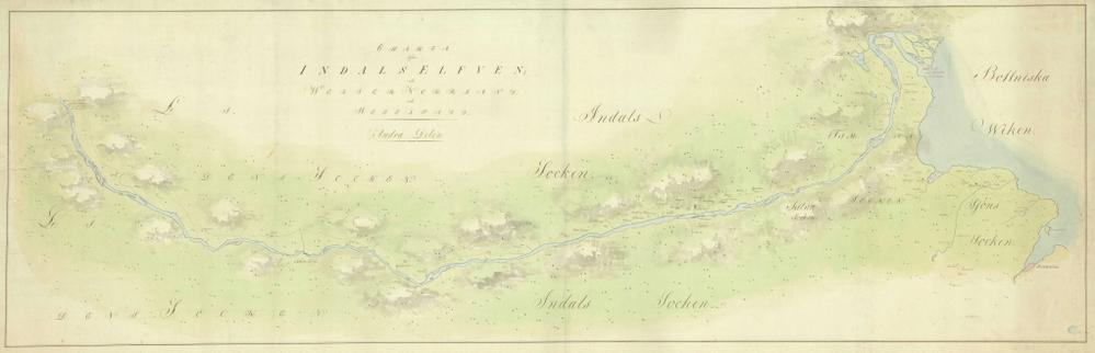 Fortsættelse på kortet over, hvor Indalsälven løber ud i Det botniske hav.