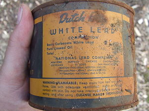 Lead carbonate - Old toxic Dutch Boy Paint, with basic lead carbonate and linseed oil