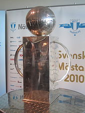 "An impressive trophy of a somewhat cubist fashion. Made of silver, it comprises a large socle, a large semi-circular handle on each side and a depiction of an old-fashioned leather football on top. The words ""Lennart Johanssons Pokal"" can be seen engraved on the front."