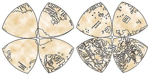 Mappamondo di Leonardo da Vinci in otto ottanti in forma di triangoli di Reuleaux.