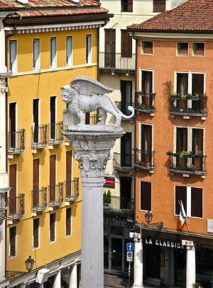 Lion of Saint Mark over one of the two columns in Piazza dei Signori, Vicenza