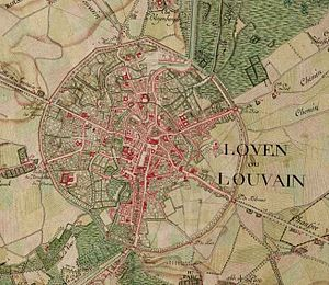 Leuven - Leuven on the Ferraris map (around 1775)