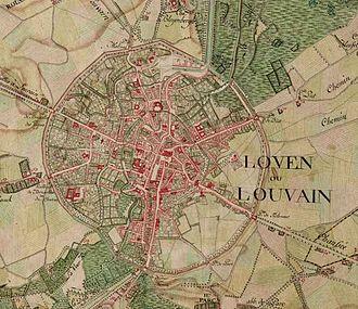 Leuven - Leuven on the Ferraris map (around 1775)