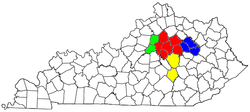 Map of the Lexington-Fayette-Frankfort-Richmond CSA, with the Lexington-Fayette Metropolitan Statistical Area highlighted in red satellite.