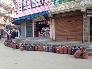 2015 Nepal blockade - Shortages of bottled gas have caused a fuel crisis during the blockade