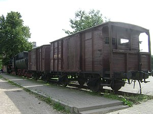 Soviet deportations from Lithuania - Train cars used to transport deportees (on display in Naujoji Vilnia)
