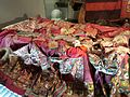 Little world, Aichi prefecture - Main exhibition hall - Dowry in India - Clothes of bride - Gujarat, India.jpg