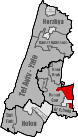 Kiryat Ono - Location of Kiryat Ono in the Tel Aviv District
