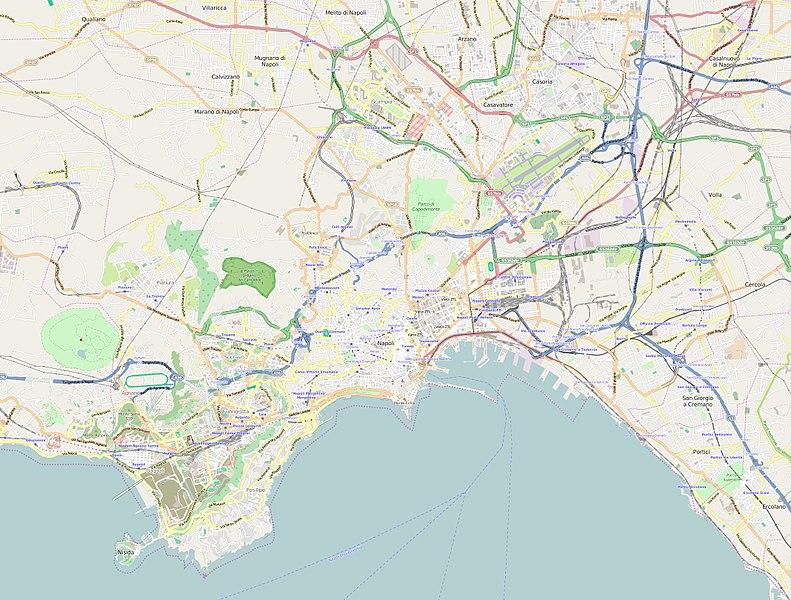 Carte de Naples : Plan détaillé des lieux intéressants.