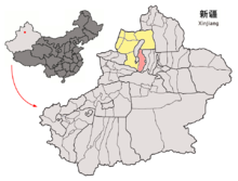 Location of Shawan within Xinjiang (China).png