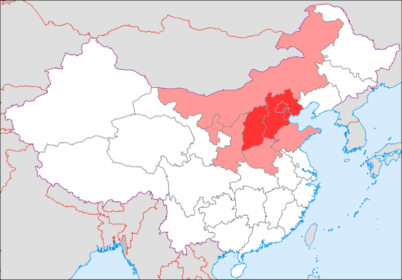 LocationmapChina2-Huabei