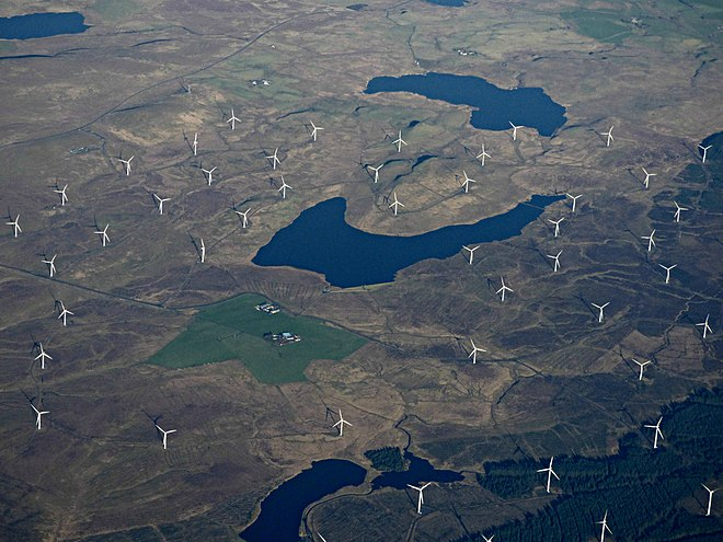 An aerial view of Whitelee Wind Farm, the largest onshore wind farm in the UK and second-largest in Europe Lochgoin from the air (geograph 6051696).jpg