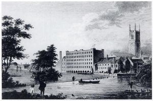 Lombe's Mill - Lombe's Mill, viewed across the River Derwent, 18th century.