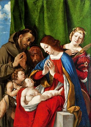 Lorenzo Lotto - The Adoration of the Child, (c. 1508), oil on panel.