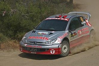 Luís Pérez Companc - Companc driving a Peugeot 206 WRC at the 2004 Cyprus Rally.