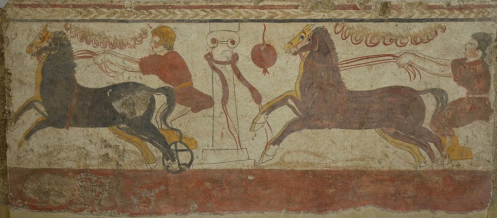 Lucanian fresco tomb painting of a man racing a chariot past the winning post, 3rd century BC, PaestrumPaestum Archaeological Museum (14599820241)