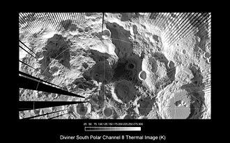 Lunar south pole - Lunar south polar region as imaged by Diviner.