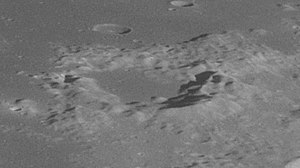 Lyell (lunar crater) - Oblique view from Apollo 11