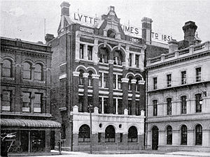 Lyttelton Times Building - Lyttelton Times Building shortly after opening