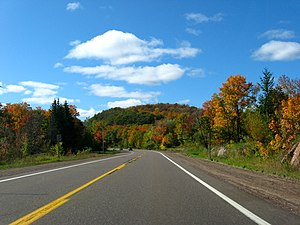 M-64 (Michigan highway) - M-28/M-64 concurrency near Lake Gogebic in autumn