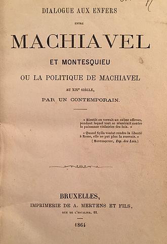 Maurice Joly - Image: M. Joly. Dialogue aux enfers. Title page, 1864