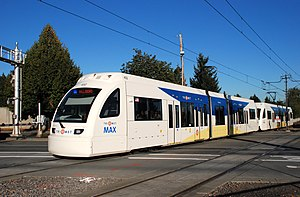 A two-car train of Siemens S70 light rail cars...