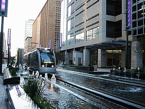 Transportation in Houston - METRORail along the Main Street Corridor in Downtown