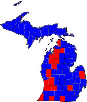 United States Senate election in Michigan, 2006 - Image: MI Counties Sen Results